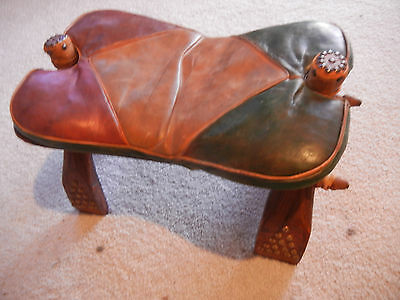 2 Vintage Hand-Made Egyptian Camel Saddles/Stool Ottomans with Leather Cushions