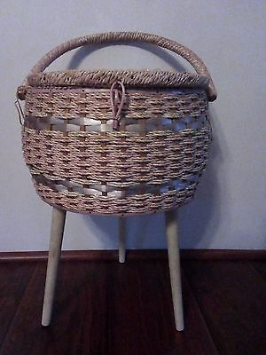 Vintage Dritz Standing Satin Tapestry Wicker Sewing Box Basket Stand Legs