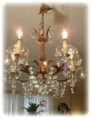 ANTIQUE SHABBY VTG CHIC CAST BRASS ITALIAN PETITE CHANDELIER w CANOPY