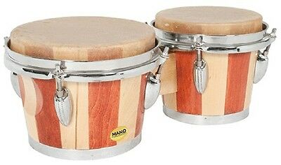 "Mano Percussion Tunable 7"" & 8"" Bongo Drums. 2 Tone Wood. Natural Skin Heads"