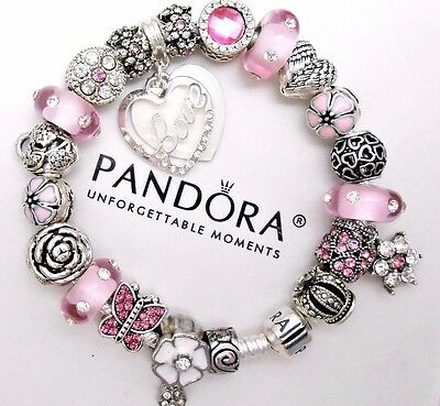 Authentic Pandora Sterling Silver Charm Bracelet With Pink Love European Charms