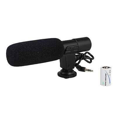 On-Camera Video Shotgun Stereo Microphone Mic For DSLR Camera 3.5mm Jack
