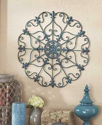 NIB French Country Scroll Fleur De Lis Antiqued Finish Iron Wall Medallion TEAL