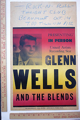 Glen Wells And The Blends Concert Poster Beaumont Texas 1960 Doo Wop