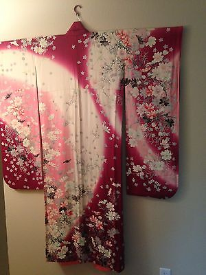 Modern Japanese Pink and White Flowing Silk Furisode Kimono with Flowers