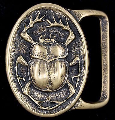 Vtg Scarab Tech Ether Guild Hippy Beetle Insect Egyptian Art Brass Belt Buckle