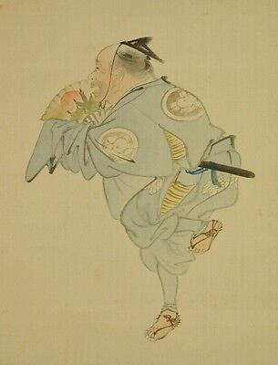 Hanging Scroll Japanese Painting Samurai dance Japan Asian art Picture ink a850