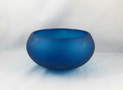 Blue Iridescent Art Glass Bowl Signed Koller ? 2002