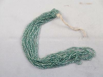 Antique/vintage Hank Of Aquamarine Micro Seed Glass Beads