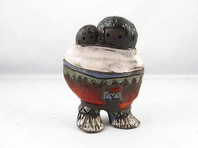 Quebec Art Pottery Inuit/eskimo Woman & Child Figurine Signed