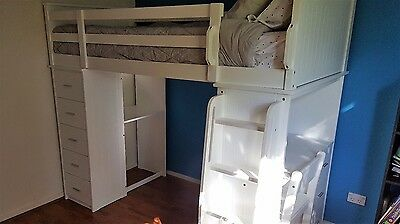 Kids Bunk Bed with Drawers, Desk and Chair