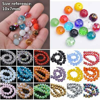 30pcs 10x7mm Faceted Glass Crystal Rondelle Beads Lot Jewelry Crafts Findings