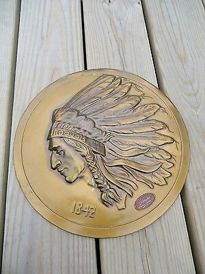 """Vintage 12"""" Iroquois Beer Advertising Copper Sign Indian Logo Plaque Buffalo NY"""