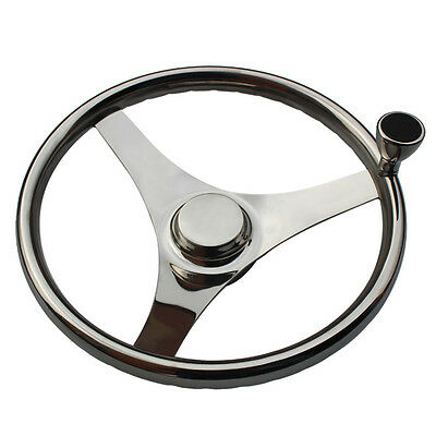 "13.5 Inch Finger Grip Steering Wheel Spoke 13-1/2"" Dia With Knob Marine Boat"