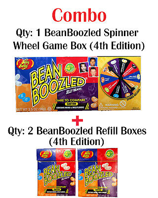 Jelly Belly Bean Boozled 3rd Edition 99g Spinner Wheel Game + 2 x 4th 45g boxes