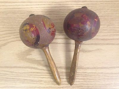Vintage Pair Of Wooden Gourd Maracas Primitive Rhythm Instrument
