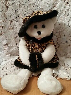 Chantilly Lane Musical Bear in Leopard Print Outfit Plays Winter Wonderland