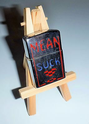 "Lighter ""Mean People Suck"" Used Condition Chrome With Wood Stand"
