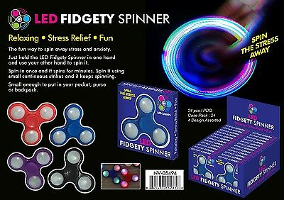 Fidget Spinner LED Assorted Colors Lot of 96 units - Retail Ready Displays