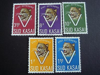 Congo, Sud Kasai, South, 1960, 1961, New, MNH, Leopards Set of 5