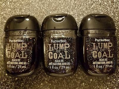 3 Bath & Body Works Lump of Coal black ice pocket bac soaps hand gel