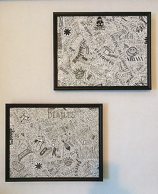 1000 Rock & Roll Bands Framed Two Piece Art Set