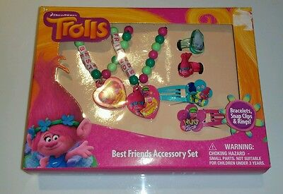 Dreamworks Trolls  Best Friends Bracelets Hair Clips & Rings 1 set Cute Poppy
