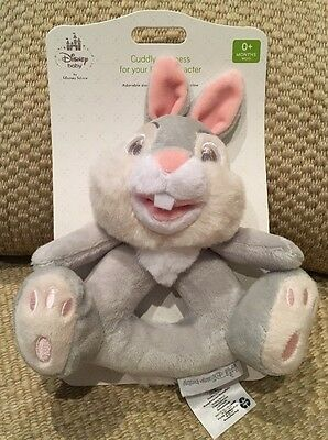 Nwt Disney Store Thumper From Bambi Plush Baby Toy Rattle Gray Pink