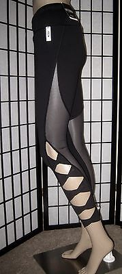 Nwt Victoria's Secret Sport Black Mesh Strappy Knot Knockout Yoga Tight Leggings