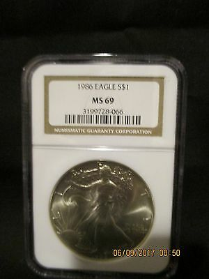 1986 Silver American Eagle Dollar S$1 - Certified & Graded NGC MS69