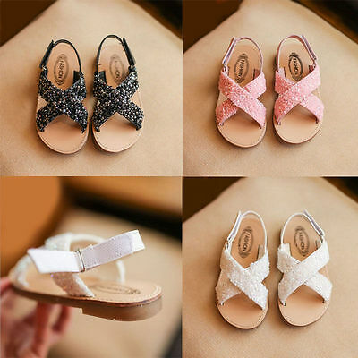 New Kids Girls Children Summer Flats Dress Party Beach Sandals Shoes