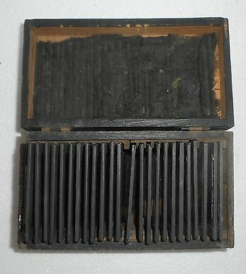 25 Vintage glass lantern slide hand colored housed in a wooden box with story