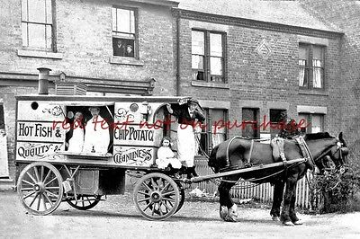 RP REPRO # horse drawn fish and chips cart