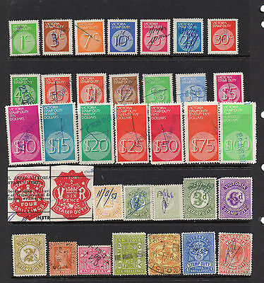 Selection Of Victoria Revenue Duty Stamps