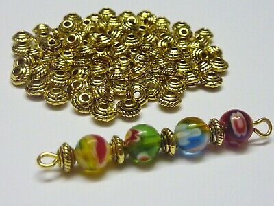 100 pce Tibetan Gold Saucer Spacer Beads 5mm x 3mm Jewellery Making Craft
