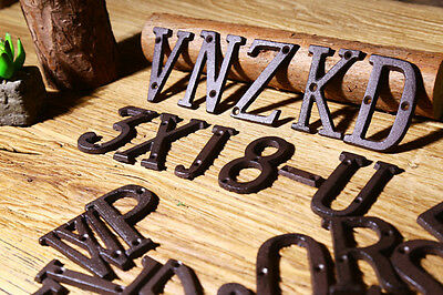 Cast Wrought Iron Black Antique House Door Address Alphabet Letters Numbers