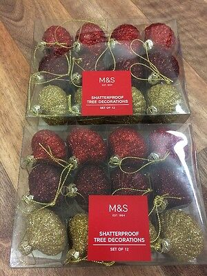 M&S 24 (2x12) Red Gold Mix Shatterproof Baubles Christmas Tree Decorations New