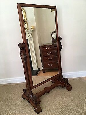 Superb Large Victorian Mahogany Cheval Mirror