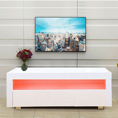 High Gloss Matt TV Cabinet Unit Stand White RGB LED Light 155(L)X40(D)X46(H)CM