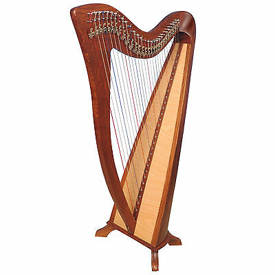 28 String Round back Celtic Harp with Levers Engraved with Free bag & Tuning Key