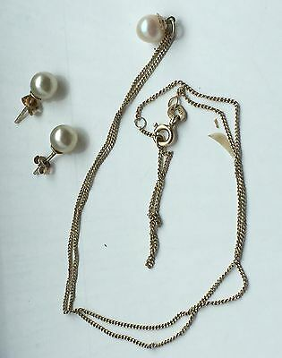 9ct 375 yellow Gold Vintage Pearl Pendant Necklace And Earring Set Hallmarked