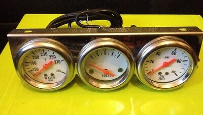 🇬🇧classic Chrome Triple Gauge Kit Oil Pressure Water Volt Mount Car Kit Projec