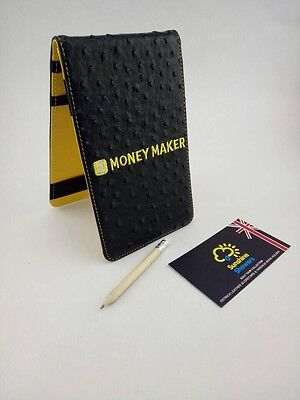 SS Tour | Ostrich Leather Golf Scorecard & Yardage Book Holder New Black/Yellow