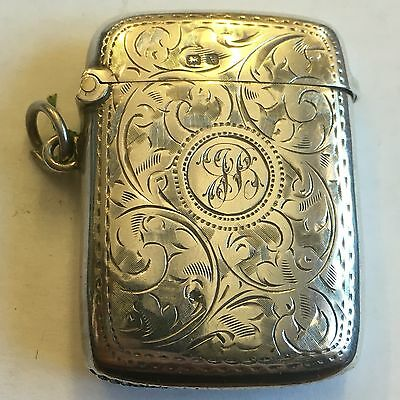 Antique Solid Silver Vesta Case 1920  5cm X 4cm William Henry Sparrow