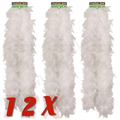 Bulk 12X Feather Boa White Burlesque Showgirl Hen Night Halloween Job Lot