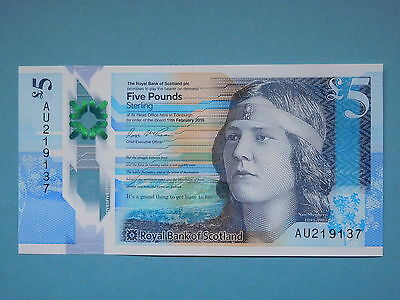 Royal Bank of Scotland new polymer £5 note - uncirculated