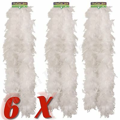 Set Of 6 White Feather Boa Burlesque Hen Night Halloween Showgirl Party Job Lot