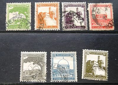 Small Collection Of 7 Palestine Stamps 1927 Onwards Used 3m To 20m #