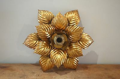 Lámpara plafón flor vintage 70s metal dorado flower leaves ceiling lamp sol sun