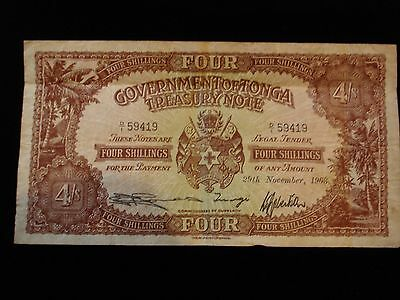 Tonga Four Shillings Banknote 1963 #ZY1d